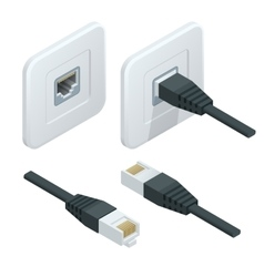 Isometric network socket icon LAN cable vector