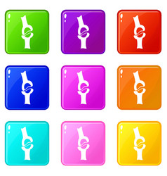 Knee joint icons 9 set vector