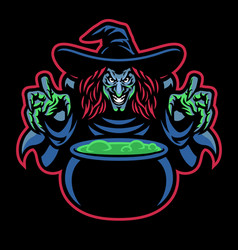Lady witch mascot cooking potion vector