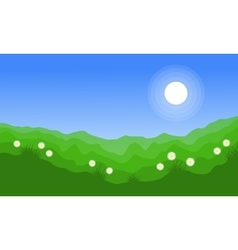 Landscape of green hill at spring vector
