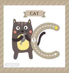 Letter c uppercase tracing standing cat holding vector