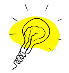light bulb flat icon with filament in shape vector image