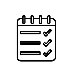 List check mark notepad spiral icon thick line vector