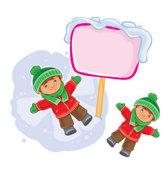 Little boy lying on the snow and making a vector