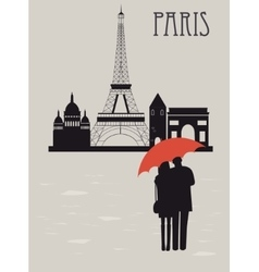 Man and woman with umbrella in Paris vector image