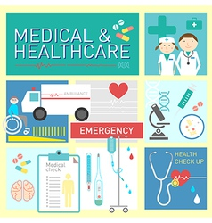 Medical and healthcare flat icon design vector image vector image