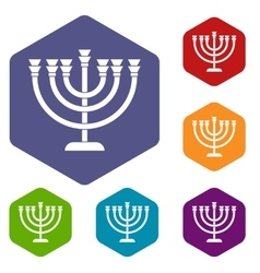 Menorah icons set vector
