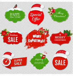 merry christmas labels set isolated transparent vector image