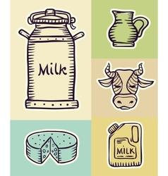 Milk and dairy products hand vector