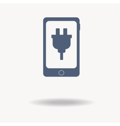 Mobile phone icon with charger blue icon Single vector image