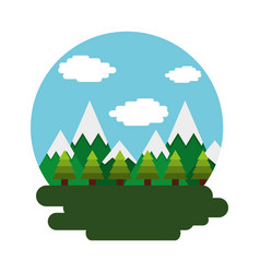 mountains tree forest sky day scene vector image