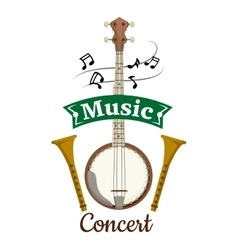 Music concert emblem with clef notes vector