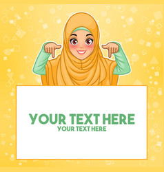 muslim woman pointing finger down at copy space vector image