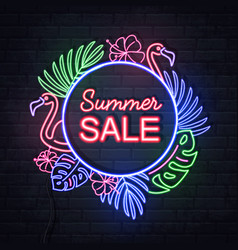 neon sign summer big sale with tropic leaves vector image