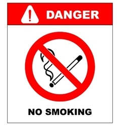 No smoking No open flame Fire open ignition vector image