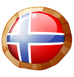 norway flag on round frame vector image