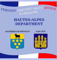 Official emblems of cities of french department vector