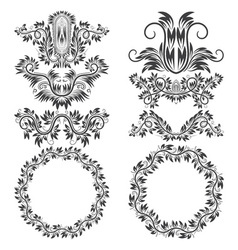 Ornamental elements and patterned round frames for vector image