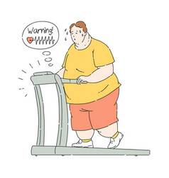 overweight obese man sweating at treadmill vector image