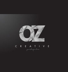 oz o z letter logo with zebra lines texture vector image