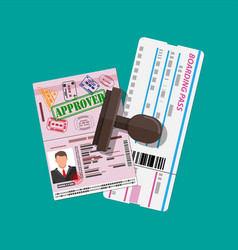 Passport with visas stamps boarding pass vector