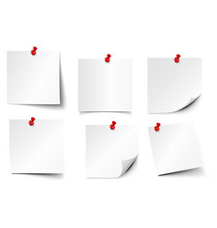 Pinned paper notes sticker papers note on pin vector