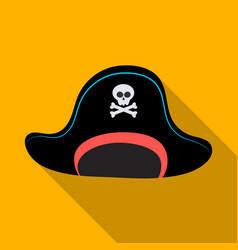 Pirate hat with skull icon in flat style isolated vector