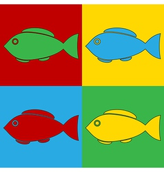 Pop art fish icons vector