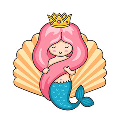 Princess mermaid on the background of a large vector