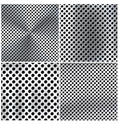 realistic perforated brushed metal textures set vector image