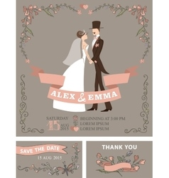 Retro wedding invitation setBridegroomfloral vector