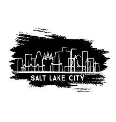 Salt lake city utah usa city skyline silhouette vector