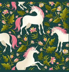 Seamless pattern with beautiful unicorns vector
