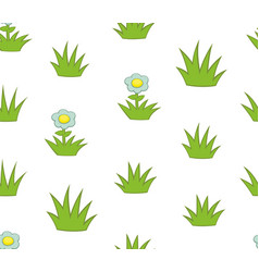 seamless pattern with grass and flowers vector image