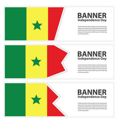 Senegal flag banners collection independence day vector