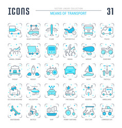 set blue line icons means transport vector image