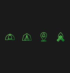 Set line location forest tourist tent vector
