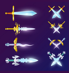 set of crossed epic swords vector image