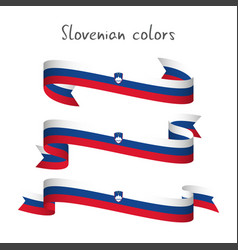 Set of three ribbons with the slovenian tricolor vector