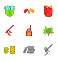 Shooting paintball icons set cartoon style vector