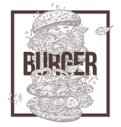 sketch monochrome poster with flying burger vector image