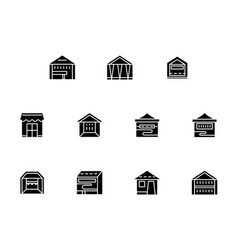 small retail trade black glyph style icons vector image