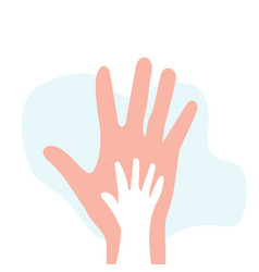 Sons hand on background fathers hand vector
