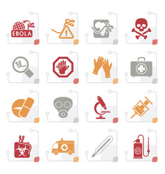 Stylized ebola pandemic icons vector