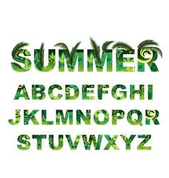Summer green alphabet capital tropical vector