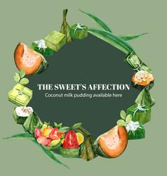 Thai sweet wreath design with egg custard vector