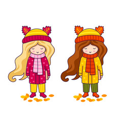 two cute little girls in coats and big knitted vector image