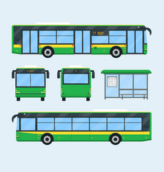 Urban bus set vector