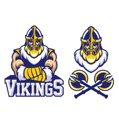 Viking warrior mascot crossed arm pose vector