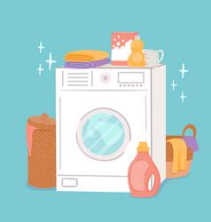 washing machine and laundry cartoon washer linen vector image